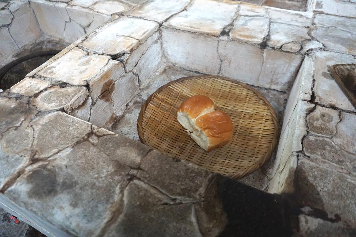柳屋 大分・別府・鉄輪温泉 湯治 朝・パンを地獄蒸し