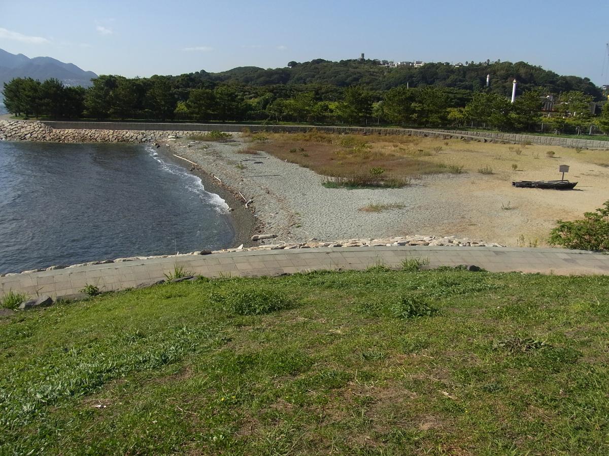 巌流島の人口海浜は決闘の場所をイメージして作られた