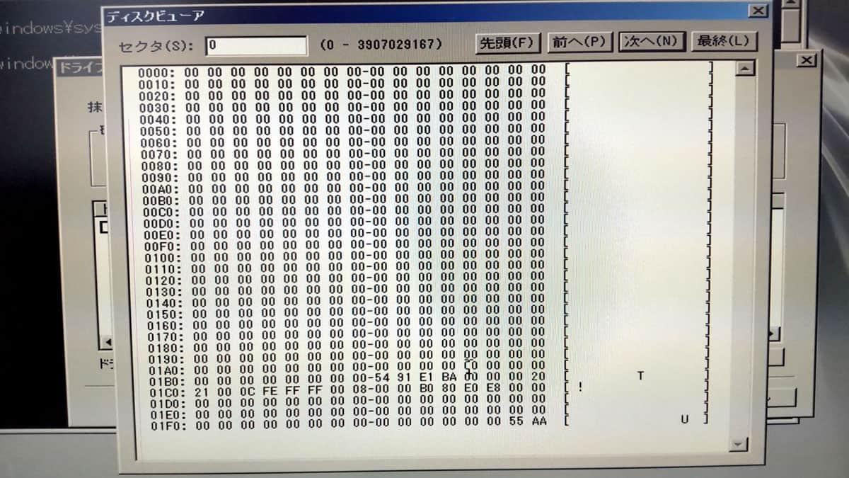 データ抹消後のディスクビュワー画面